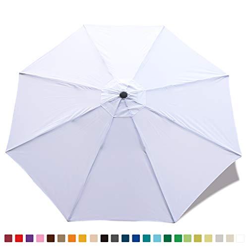 (ABCCANOPY 23+ Colors 9ft Outdoor Umbrella top Patio Umbrella Market Umbrella Replacement Canopy with 8 Ribs(White-1))