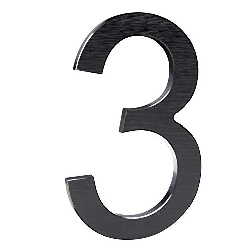 8 Inch Modern House Numbers- Premium Aluminum Floating Home Address Number with Elegant & Sophisticated Brushed Finish, Black, Number 3