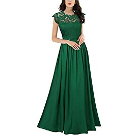 MIUSOL Women's Lace Chiffon Cap Sleeve Long Evening Dress