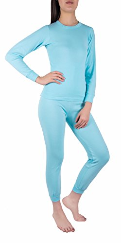 Sexy Basics Women's Thermal Underwear Set Top & Bottom Fleece Lined Cotton (Medium, Baby Blue) (Thermal Sexy)