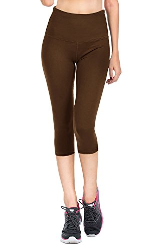 VIV Collection Signature Capri Leggings Soft w Pocket (L, Dark Brown)