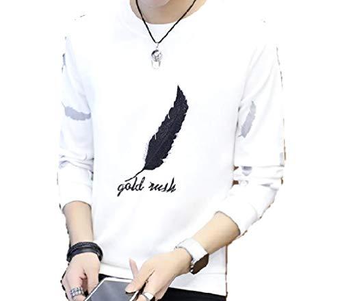 前修復単位MSP メンズ Tシャツ ロゴ イラスト プリント 長袖 スリム シャツ カジュアル フェザー