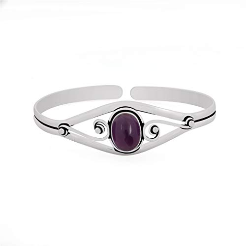 13.50gms, 6.00ct Genuine Amethyst .925 Silver Overlay Handmade Fashion Cuff Bangle Jewelry