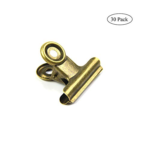 Antique Brass Small Bulldog Clips, Coideal 30 Pack Hinge Clip 1 Inch Metal Binder Clips File Paper Money Clamps for Tags Bags, Shops, Office and Home Kitchen (Bronze, 22mm)