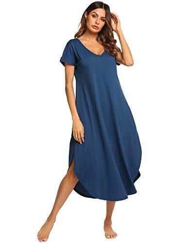 - Ekouaer Pajamas Dress Women's Cotton Sleep Shirts Soft Knit Sleepwear Nightgown (Blue,S)