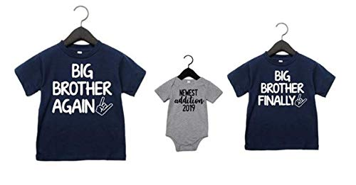 - Big Brother Again Big Brother Finally and Newest Addition Set of 3 Matching Sibling Shirts