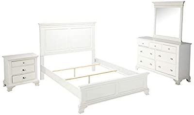 Roundhill Furniture Laveno 012 White Wood Bedroom Furniture Set, Includes King Bed, Dresser, Mirror and 2 Night Stands-P