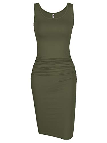 Missufe Women's Ruched Casual Knee Length Bodycon Sundress Basic Fitted Dress (Sleeveless Army Green, Small)