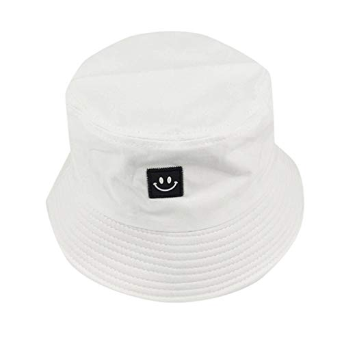 Unisex Smiley Face Visor Bucket Hats Summer Cotton Fisherman Hat Outdoor Climbing Mesh Sunshade Cap (White)