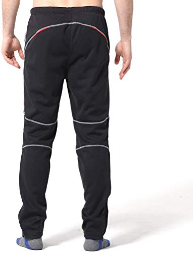 4ucycling Windproof Athletic Pants for Outdoor and Multi Sports M-promise, Black&Red, WEIGHT:120-140Lbs HEIGHT:5'4″-5'6″ M