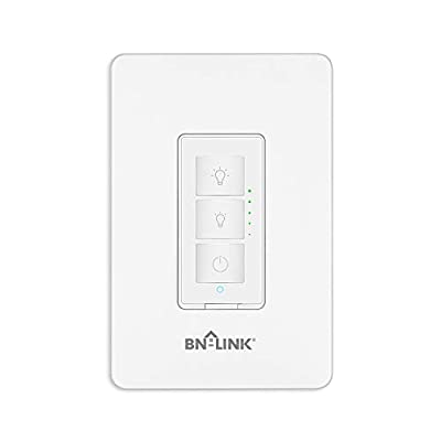 BN-LINK Smart Dimmer Switch - Dimmable LED, Halogen and Incandescent Bulbs - Compatible with Alexa and Google Assistant - Single-Pole ONLY - No Hub Required, Neutral Wire Required