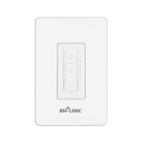 BN-LINK Smart Dimmer Switch - Dimmable LED, Halogen and Incandescent Bulbs - Compatible with Alexa and Google Assistant - Single-Pole ONLY - No Hub Required, Neutral Wire Required, Single Pole