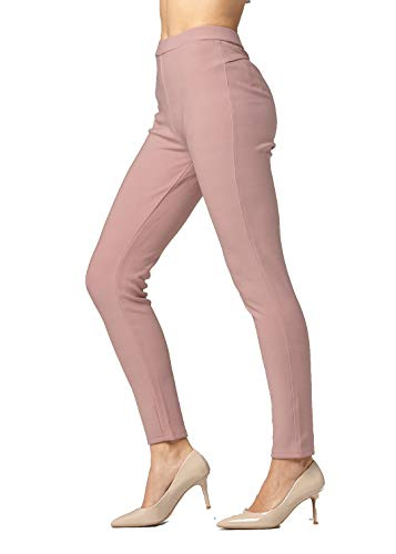 Premium Women's Stretch Ponte Pants - Dressy Leggings with Butt Lift - Mauve Pink - Small/Medium