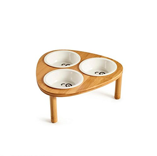 Kkuoyuann Ceramic Pet Bowl with Sturdy Bamboo Stand for Food and Water Bowls Pet Feeders Triple Bowls