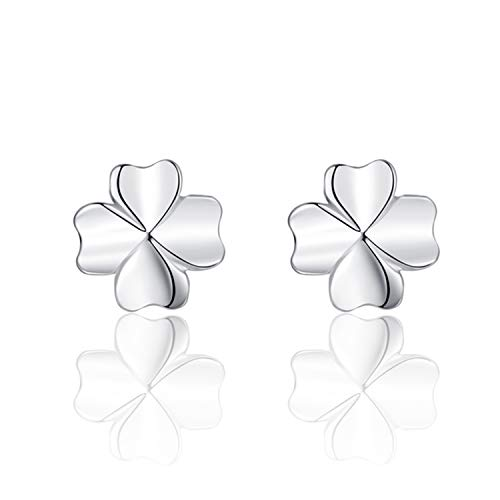 EVBEA Sterling Silver Stud Earrings Cubic Zirconia Four-leaf clover Jewelry for women