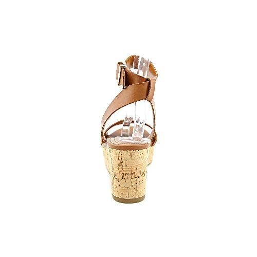 BCBGMAXAZRIA - Sandalias de vestir para mujer Toffee Leather/Cork