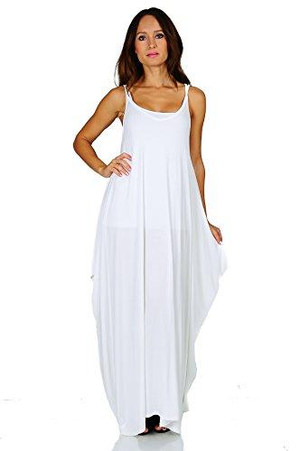 Simply Ravishing Rayon Span Maxi Boho Harem Spaghetti Strap Dress, 4X, Ivory