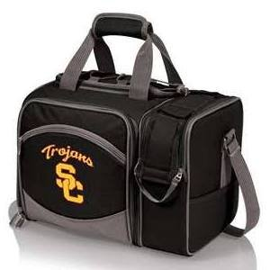 NCAA USC Trojans Malibu Picnic Tote with Deluxe Picnic Service for Two - Bag Picnic Time Deluxe Beach