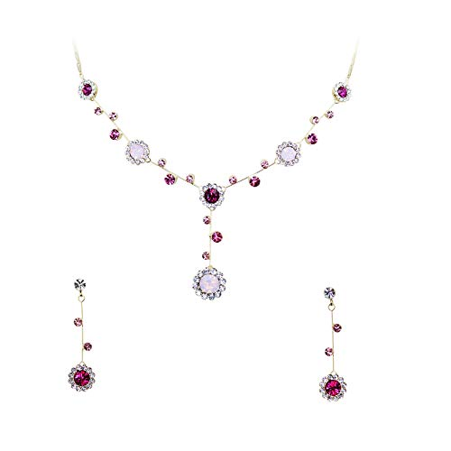 - Faship Gorgeous Multicolors Rhinestone Crystal Floral Necklace Earrings Set - Multicolors