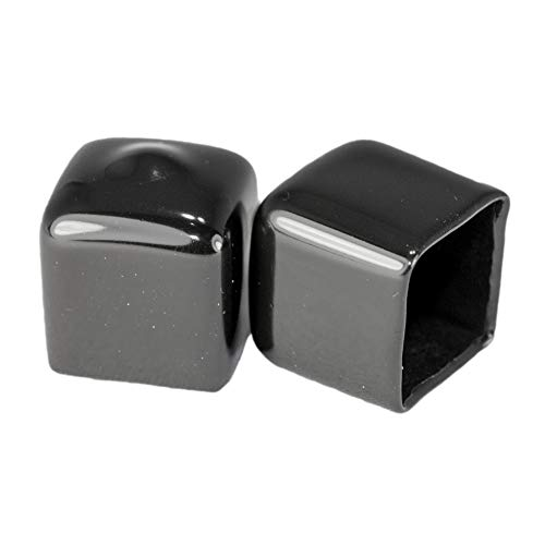 Prescott Plastics 1/2 Inch: Square Black Vinyl End Cap, Flexible Pipe Post Rubber Cover ((A) Pack of 10 Caps)