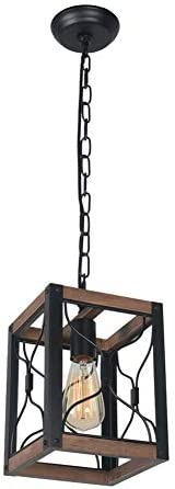 Beuhouz Square Farmhouse Hanging Pendant Lighting, 1-Light Black Metal and Wood Rustic Kitchen Island Light Fixture Small Industrial Cage Foyer Entryway Lantern Light Edison E26 8039
