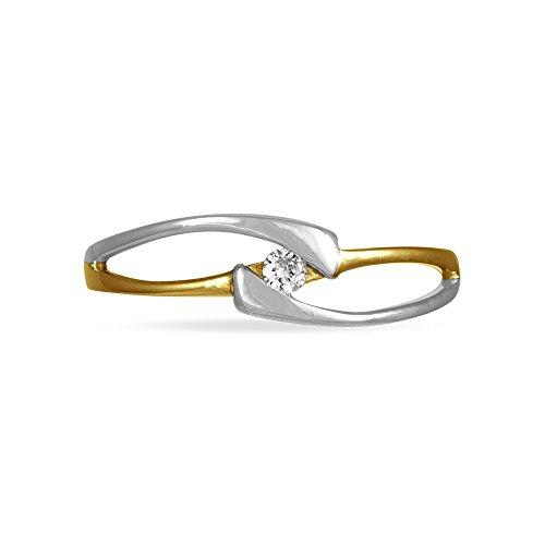 HISTOIRE D'OR - Solitaire Or et Diamant - Femme - Or 2 couleurs 375/1000