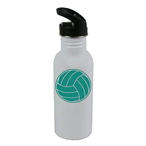 Personalized Custom Volleyball White Stainless Steel Water Bottle with Straw Top 20 Ounce Sport Water Bottle, Teal