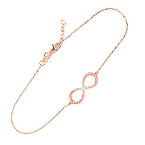 Petits Merveilles D'amour - 14 ct Deux Ton Or Rose Diamant Infinité Bracelet