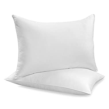 Black Friday Special By Down Alternative King Pillows For Sleeping Set Of 2 - Hypoallergenic & Dust Mite Resistant Solid White Soft & Fluffy Pillows