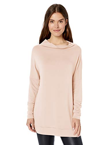 Amazon Brand - Daily Ritual Women's Supersoft Terry Modern Funnel-Neck Tunic, Rose, Medium