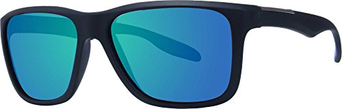 Surf N Sport Men's Jameson Wayfarer Sunglasses (Black/Blue Mirror)