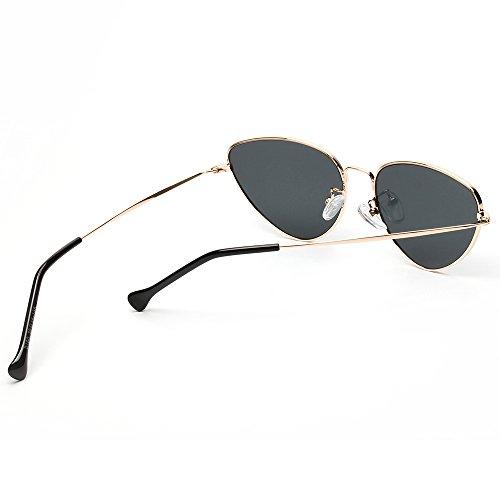 UV Gafas Contever del Ligero Polarizadas Metal Clásico Espejo Única Gris Talla Aviador Sol de Lente Protección Mujer 400 Marco de 65rYwqrfdx