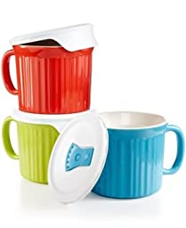 Corningware French White 6 piece Pop-In Mug Multi Color: Includes (1)fluted sprout mug with lid, (1) fluted pool mug with lid, (1) flutedvermilion mug with lid