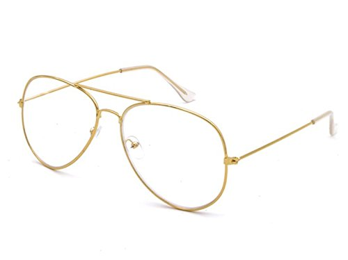 Amazon.com: Gold Frame, Clear lens, Fashion Glasses New Trending ...