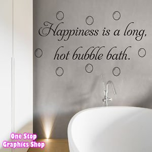 1stop graphics shop happiness is a long hot bubble bath wall art quote sticker