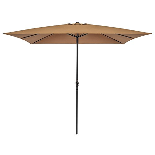 Best Choice Products 8×11 Ft Rectangular Patio Umbrella with Crank, 210g Polyester – Tan