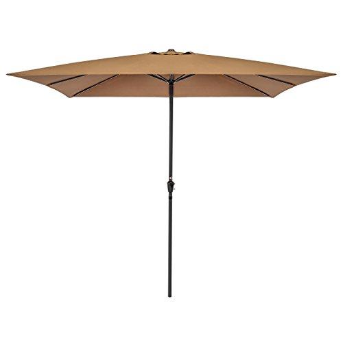 Best Choice Products 8x11 Ft Rectangular Patio Umbrella with Crank, 210g Polyester - Tan (Rectangular Umbrellas Patio)