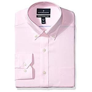 Amazon Brand - BUTTONED DOWN Men's Tailored Fit Button-Collar Solid Pinpoint Non-Iron Dress Shirt 18