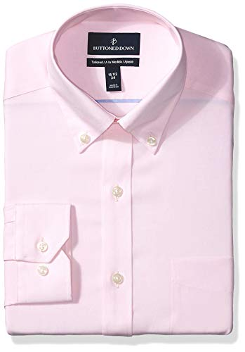 BUTTONED DOWN Men's Tailored Fit Button Collar Solid Non-Iron Dress Shirt, Light Pink/Pockets, 16.5