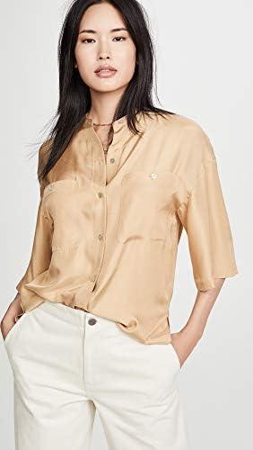 Vince Women's Utility Shirt, Sun Khaki, Tan, XX-Small