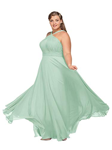 Alicepub Chiffon Bridesmaid Dress Plus Size Long Evening Formal Party Prom Gown for Women, Mint Green, US16