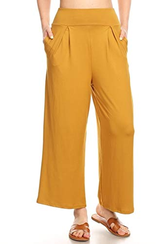 (ShoSho Womens High Waist Cropped Pants Casual Wide Leg with Pockets Soft Brush Palazzo Solid Harvest Gold Large)