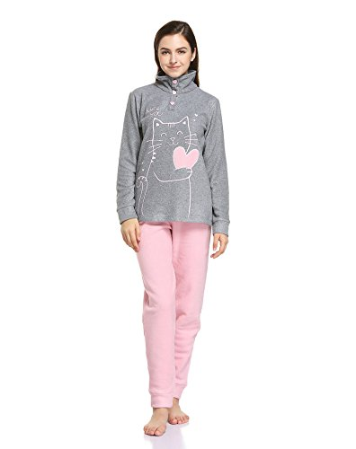 NOI 6321 micropile NOTTE DI Grigio in pigiama lungo donna art Iqw66R