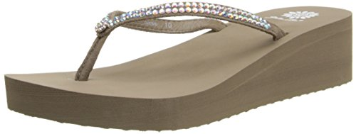(Yellow Box Women's Custard Wedge Flip Flop, Rich Taupe, 7.5 M US)