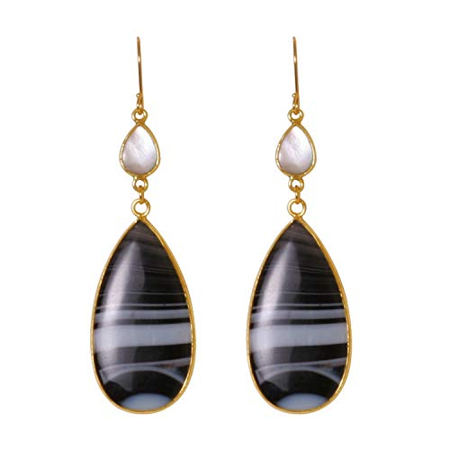 Kevia | 18k Gold Plated Gemstone Drop Earrings for Women | Elegant Banded Agate Teardrop Earrings | Minimal Black and White Hanging Genuine Earrings