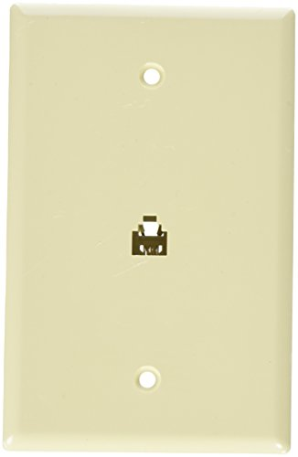 Morris 87010 Midsize Single RJ11 4 Conductor Phone Jack Wall Plate, Ivory