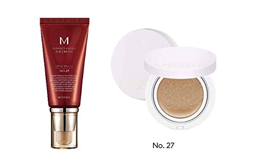 MISSHA M Perfect Cover BB Cream SPF 42 PA+++ (#27 Honey Beige) Bundle with M Magic Cushion Cover Lasting SPF50+/PA+++ (No.27)