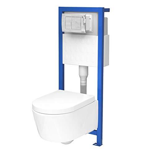 All-In-One-Set V2: Lavita Vorwandelement inkl. Drückerplatte chrom + Wand WC ohne Spülrand + WC-Sitz mit Soft-Close-Absenkaut