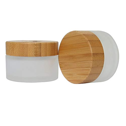 2Pcs 30ml Empty Refillable Clear Frosted Glass Bottles Round Cosmetic Jars Container Storage Pot with Natural Bamboo Lids and Sealing Liner for Face Cream, Samples, Balms, Makeup Emulsion