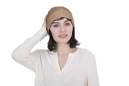 Cashmeren 100% Pure Cashmere Cable Knit Beanie Hat - Ultimate Soft, Warm and Cozy (Camel, One Size)